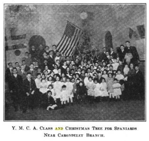 Photo of English classes held for Spaniards at the YMCA in collaboration with the Carondelet branch of the St. Louis Public Library, c. 1916.