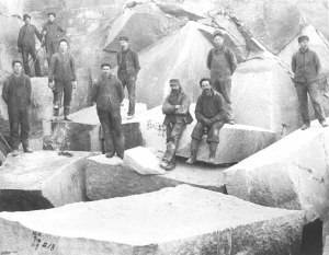 Granite Quarry and workers, Consolidated Granite Co., Eagan Quarry, Barre, Vermont, date unknown.